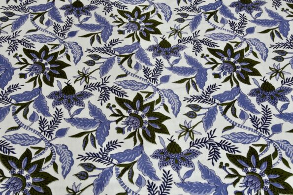 Ethnic Jaipuri Blue Flowery Print Double Bed Sheet lookout