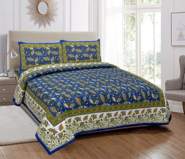 Ethnic Jaipuri Blue Flowery Print Double Bed Sheets