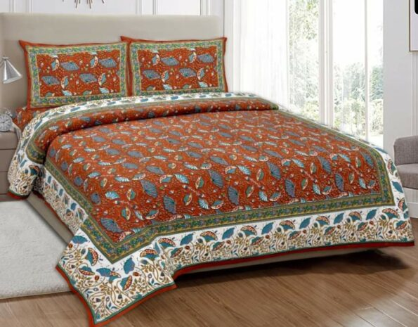 Ethnic Jaipuri Brown Flowery Print Double Bed Sheets