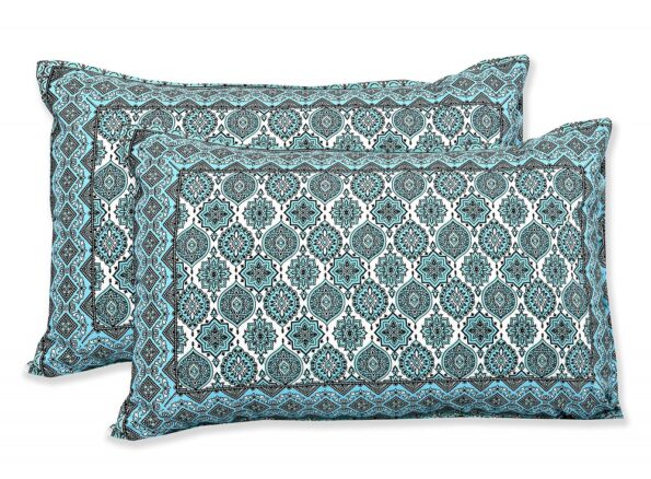 Ethnic Jaipuri Charm Green Double Bedsheet Pillow Covers