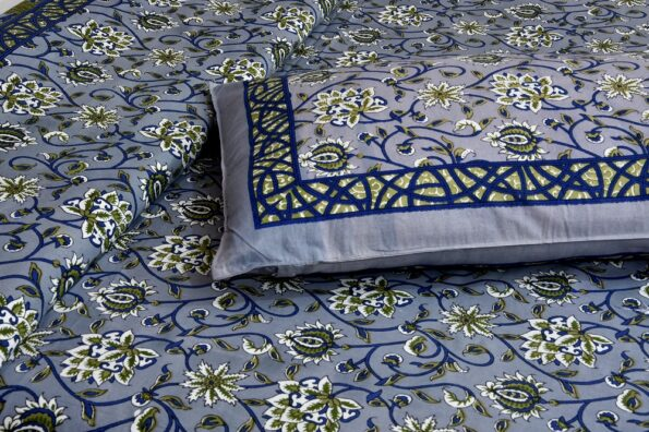 Ethnic Jaipuri Dark Grey Flowery Print Double Bedsheet Pillow