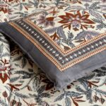 Ethnic Jaipuri Grey Flowery Print Double Bed Sheet Pillow