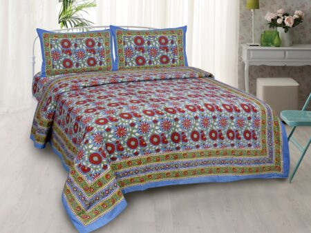 Ethnic Jaipuri Sun Flowery Print Double Bed Sheet