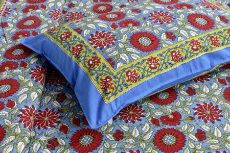 Ethnic Jaipuri Sun Flowery Print Double Bed Sheet Pillow