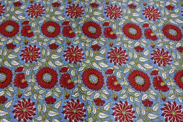 Ethnic Jaipuri Sun Flowery Print Double Bed Sheet View