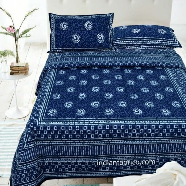 Indigo Dark Blue Color Square Border Double Bedsheet