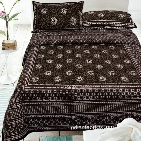 Indigo Dark Brown Color Square Border Double Bedsheet