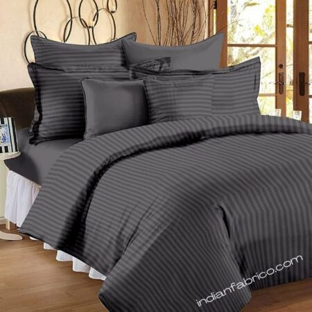 Solid Dark Grey Satin Pure Cotton King Size Bedsheet with 2 Pillow Covers