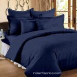 Solid Dark Navy Blue Satin Pure Cotton King Size Bedsheet with 2 Pillow Covers