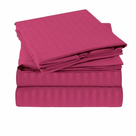 Solid Dark Pink Satin Pure Cotton King Size Bedsheet Closeup