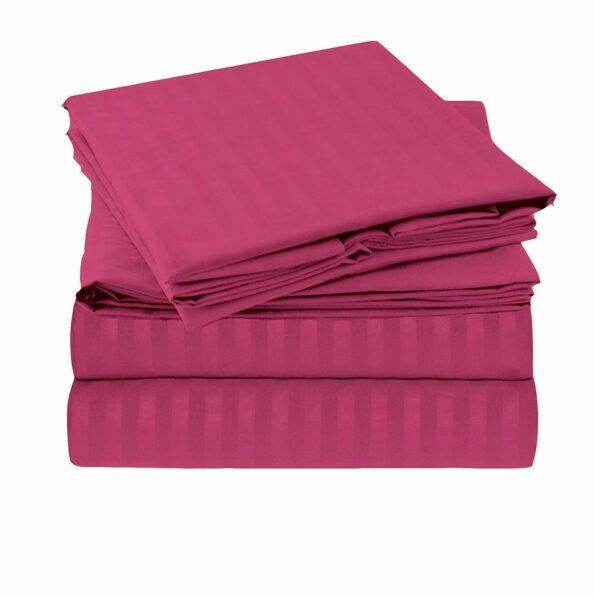 Solid Dark Pink Satin Pure Cotton King Size Bedsheet Closeup