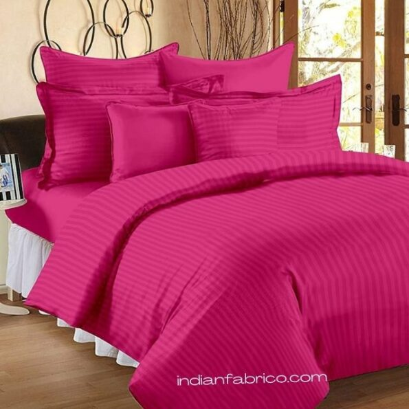 Solid Dark Pink Satin Pure Cotton King Size Bedsheet with 2 Pillow Covers