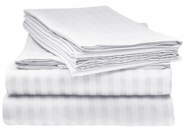 Solid White Satin Pure Cotton King Size Bedsheet with 2 Pillow Cover
