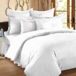 Solid White Satin Pure Cotton King Size Bedsheet with 2 Pillow Covers