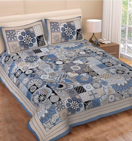 Square Shape Blue Color Double Bedsheet