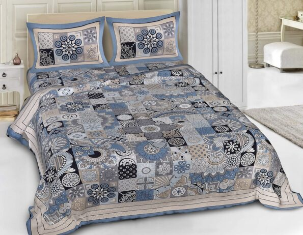 Square Shape Blue Color Double Bedsheet with Pillow Covers