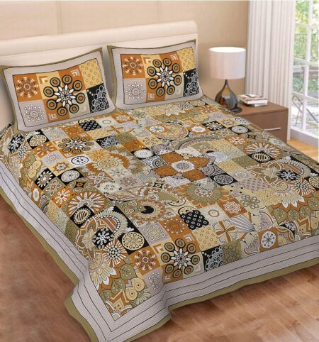 Square Shape Green Color Double Bedsheet