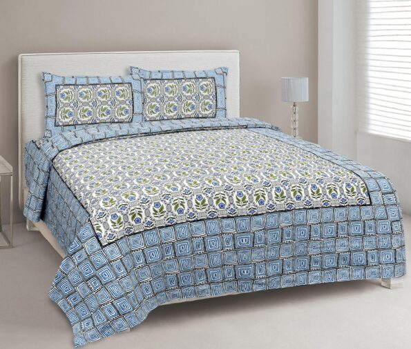 Stylish Blue Square Waves Floral Print Double Bedsheet