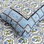 Stylish Blue Square Waves Floral Print Double Bedsheet Closeup