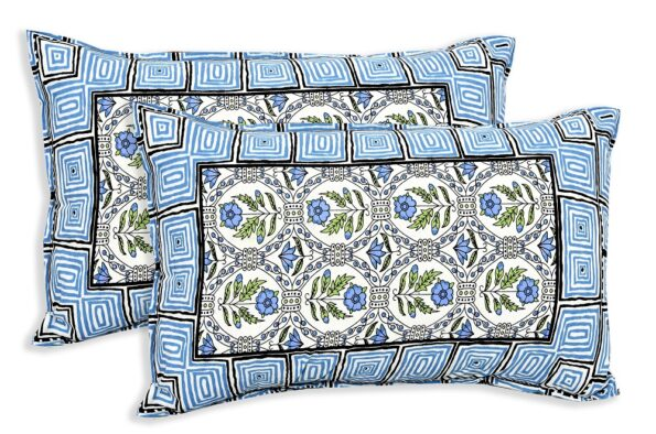 Stylish Blue Square Waves Floral Print Double Bedsheet Pillow Covers