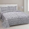Stylish Grey Square Waves Floral Print Double Bedsheet