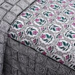 Stylish Grey Square Waves Floral Print Double Bedsheet Close up