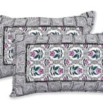 Stylish Grey Square Waves Floral Print Double Bedsheet Pillow