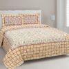 Stylish Orange Square Waves Floral Print Double Bedsheets