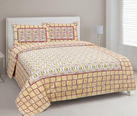 Stylish Orange Square Waves Floral Print Double Bedsheets