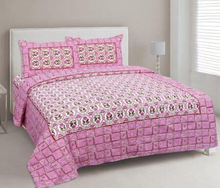 Stylish Pink Square Waves Floral Print Double Bedsheets