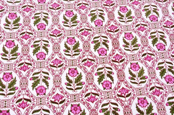Stylish Pink Square Waves Floral Print Double Bedsheets closeup