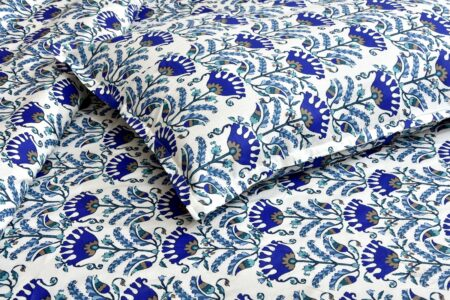 Beautiful Blue Floral Base King Size Bedsheet Closeup