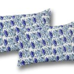 Beautiful Blue Floral Base King Size Bedsheet with 2 Pillow Covers
