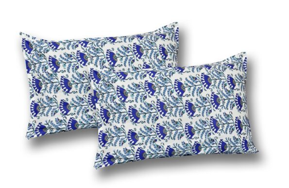 Beautiful Blue Floral Base King Size Bedsheet Pillow Covers