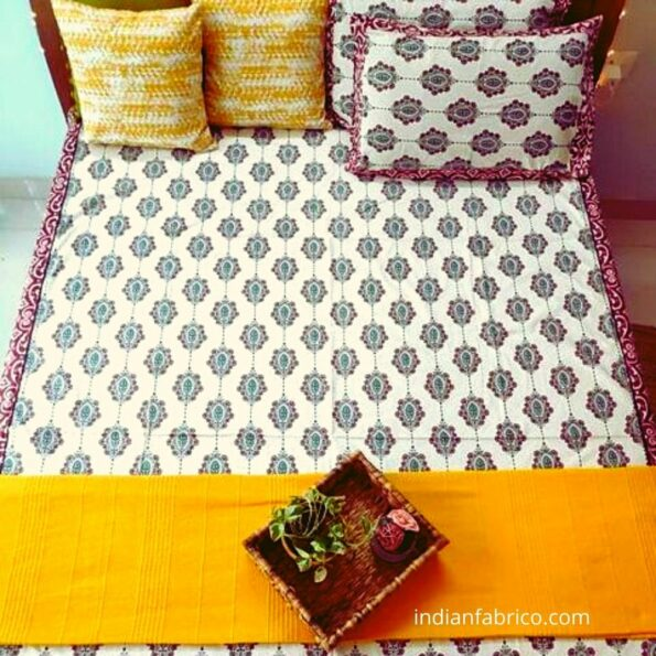 Beautiful Cream Base King Size Bedsheet with Two Pillow Covers
