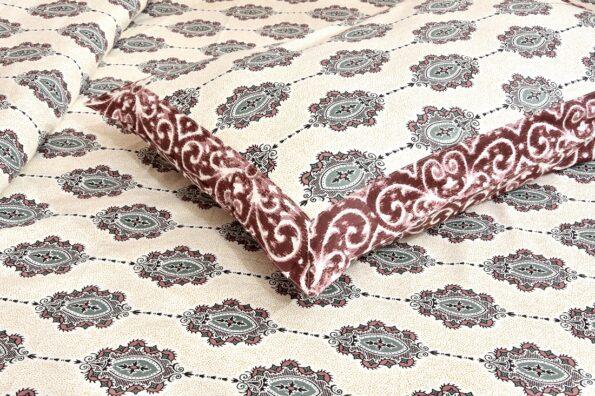 Beautiful Cream Base King Size Double Bedsheet Closeup