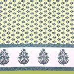 Beautiful Green Base Floral Print Double Bedsheet Closeup