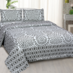 Beautiful Rhombus Border Shape Floral Print King Size Bedsheet