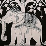 Double Bedsheet With Big Elephant And Tree Pattern Close up