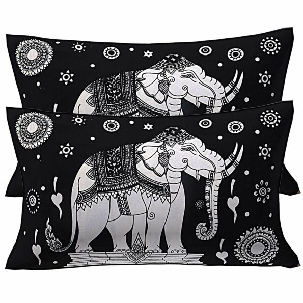 Double Bedsheet With Big Elephant And Tree Pattern Two Pillow Cover