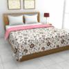 Jaipuri Print Pink Floral Pattern Reversible Pure Cotton Double Bed Dohar
