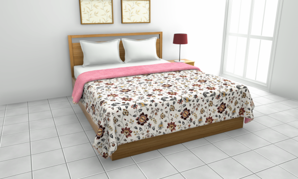 Jaipuri Print Pink Floral Pattern Reversible Pure Cotton Double Bed Dohar
