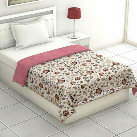 Jaipuri Print Pink Floral Pattern Reversible Pure Cotton Single Bed Dohar