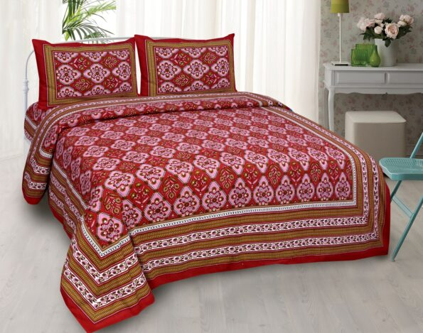 Kalamkari Red Color Double Bedsheet with Two Pillow Covers