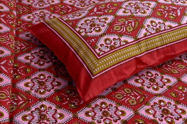 Kalamkari Red Color Double Bedsheet with Two Pillow Covers Closeup