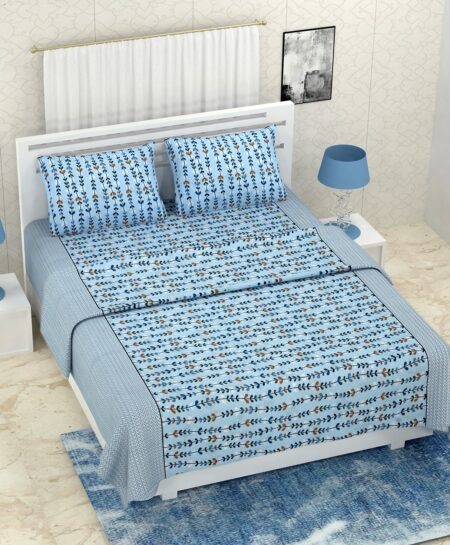 Pure Cotton Blue Bell Print Double Bedsheet + AC Comforter Set