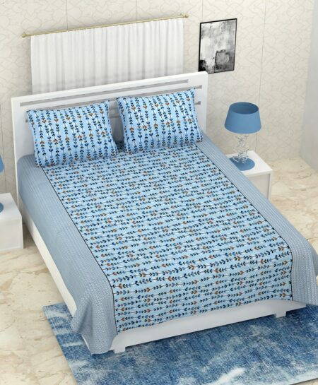 Pure Cotton Blue Bell Print Double Bedsheet + AC Comforter Set Bedsheet with pillow