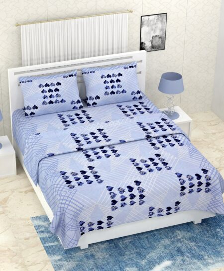 Pure Cotton Blue Heart Double Bedsheet + AC Comforter Set
