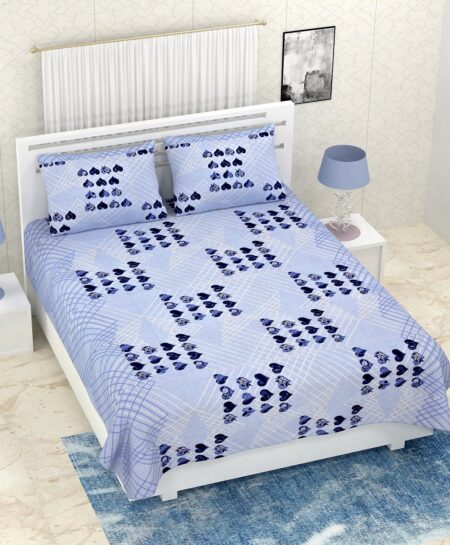 Pure Cotton Blue Heart Double Bedsheet + AC Comforter Set Bedsheet with pillows