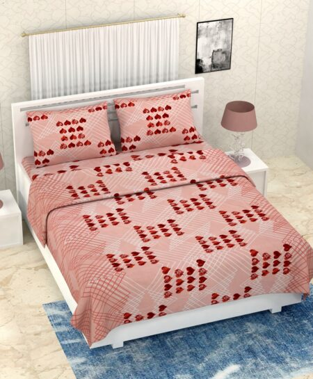 Pure Cotton Brown Heart Double Bedsheet + AC Comforter Set